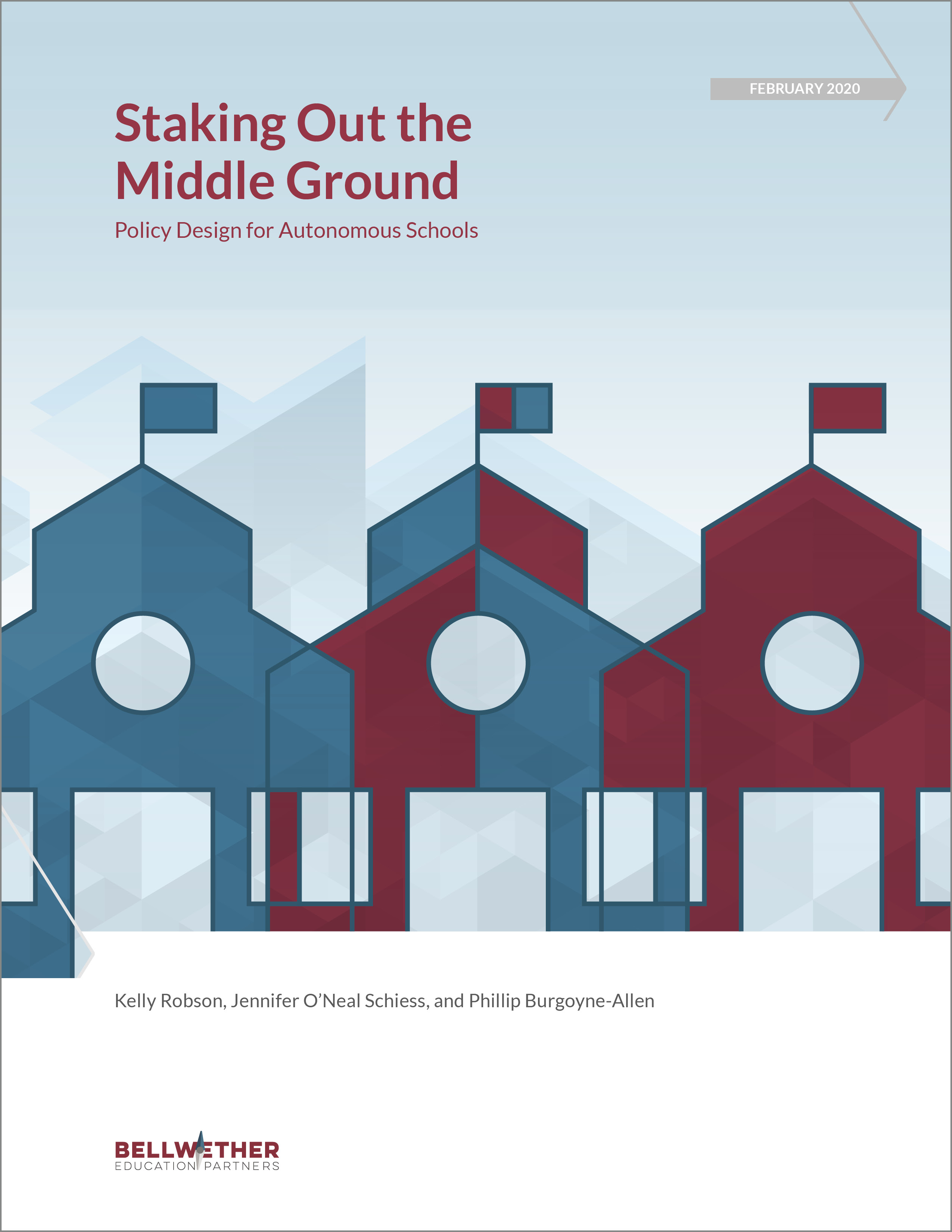 Cover image for Bellwether publication Staking Out the Middle Ground: Policy Design for Autonomous Schools February 2020