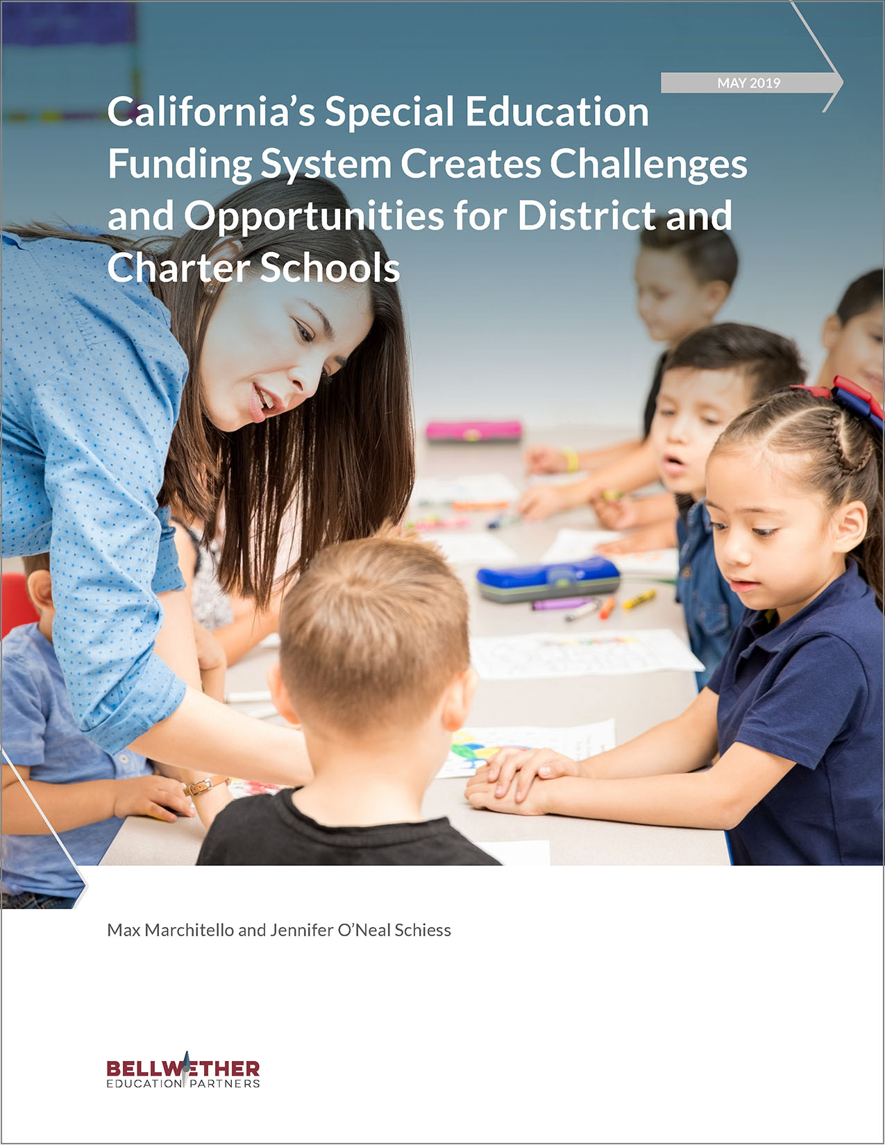"Title image for Bellwether publication ""Changing Enrollment, Fiscal Strain, and Facilities Challenges in California's Urban Schools,"" May 2019"