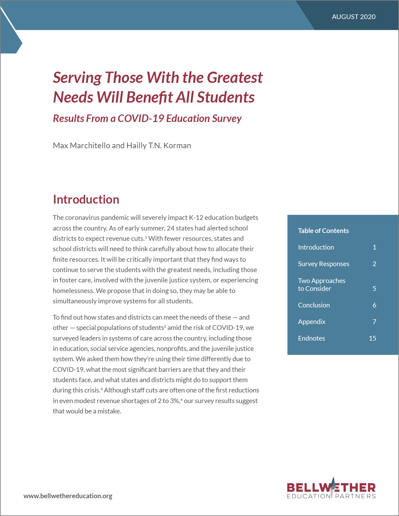 "Cover of August 2020 Bellwether brief ""Serving Those With the Greatest Needs Will Benefit All Students:  Results from a COVID-19 Education Survey"""