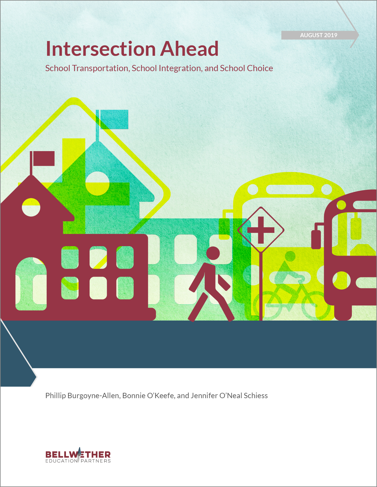 "Cover of ""Intersection Ahead: School Transportation, School Integration, and School Choice"" by Bellwether Education Partners, August 2019"
