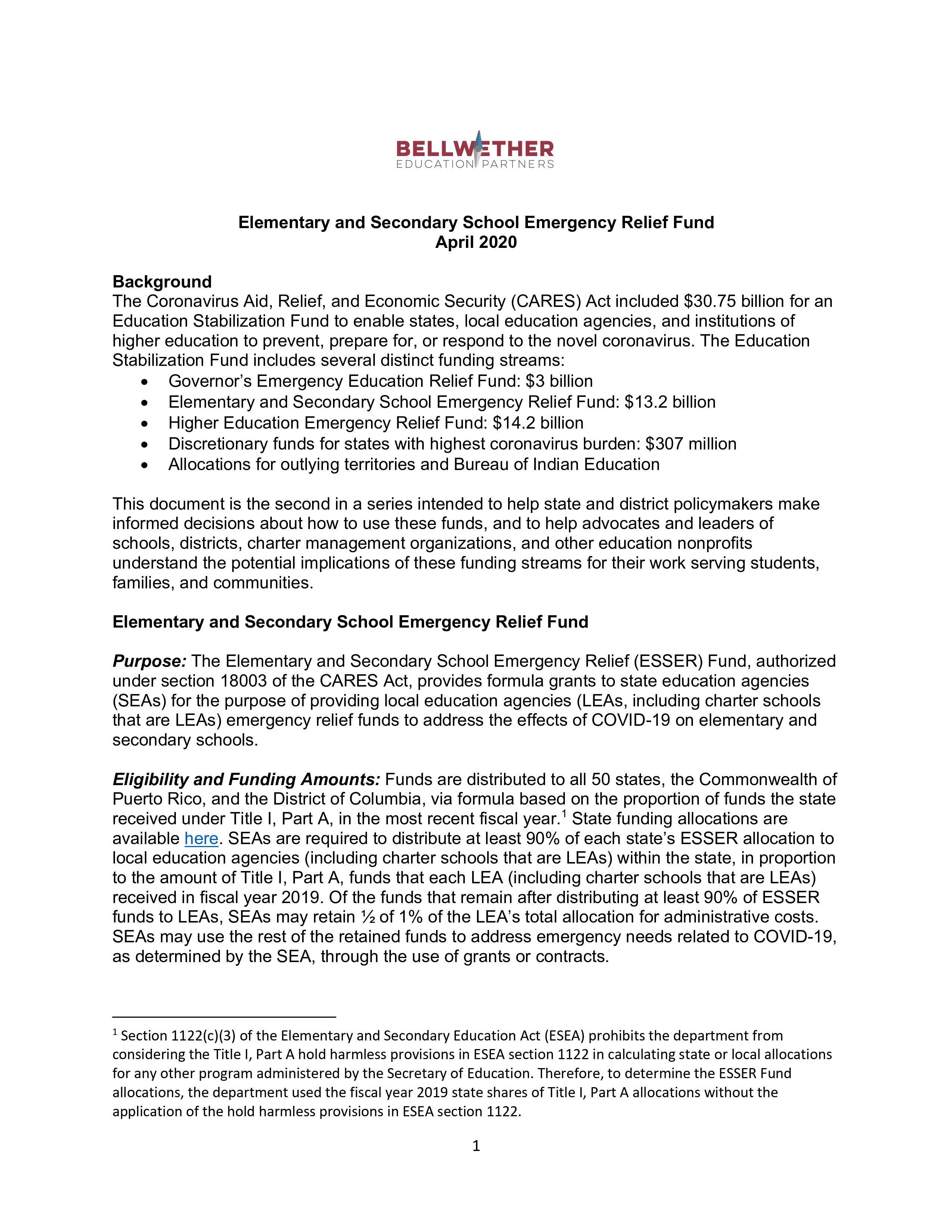 Thumbnail of the PDF policy brief for the Elementary and Secondary School Emergency Relief Fund policy brief