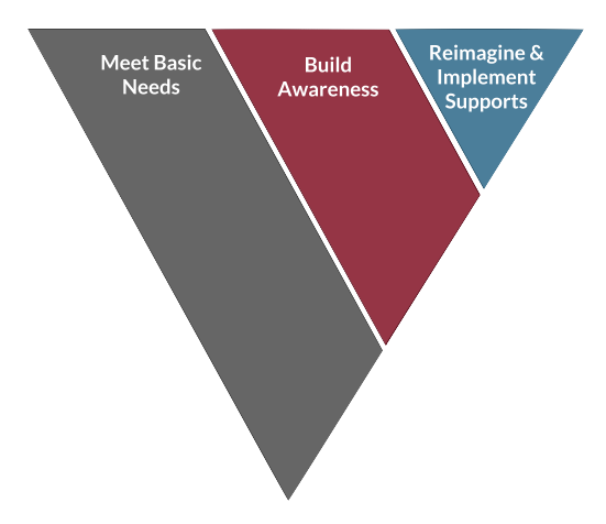 Three overarching imperatives: meet basic needs, build awareness, reimagine & implement supports