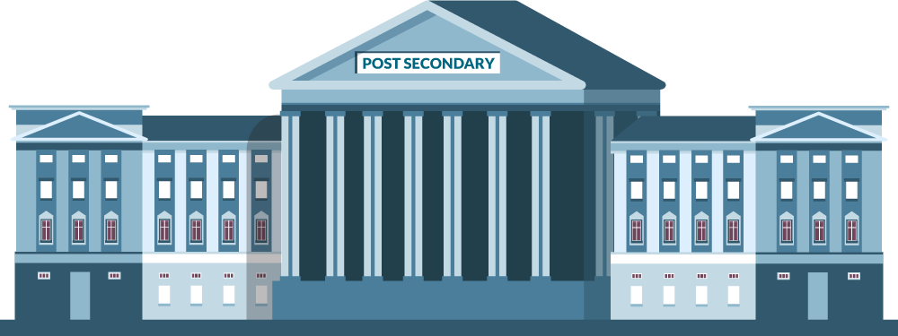 blue graphic of a college building with columns